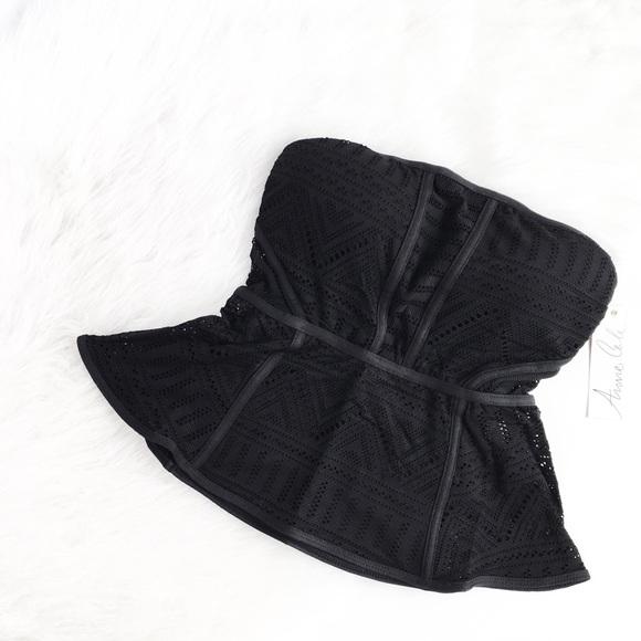 Anne Cole Other - Anne Cole | black geo crochet peplum swim tankini